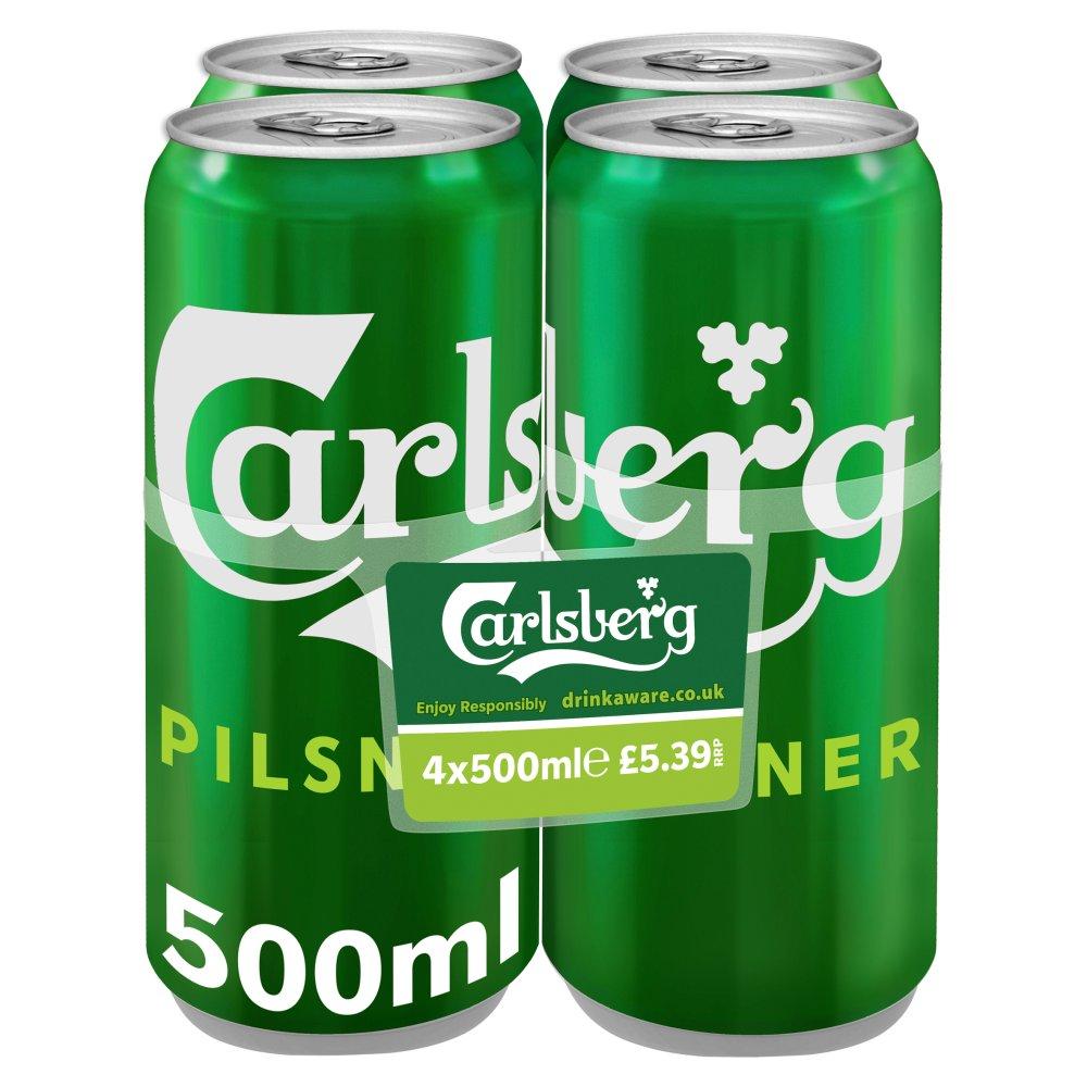 Carlsberg Lager Beer 4 x 500ml PMP £5.39