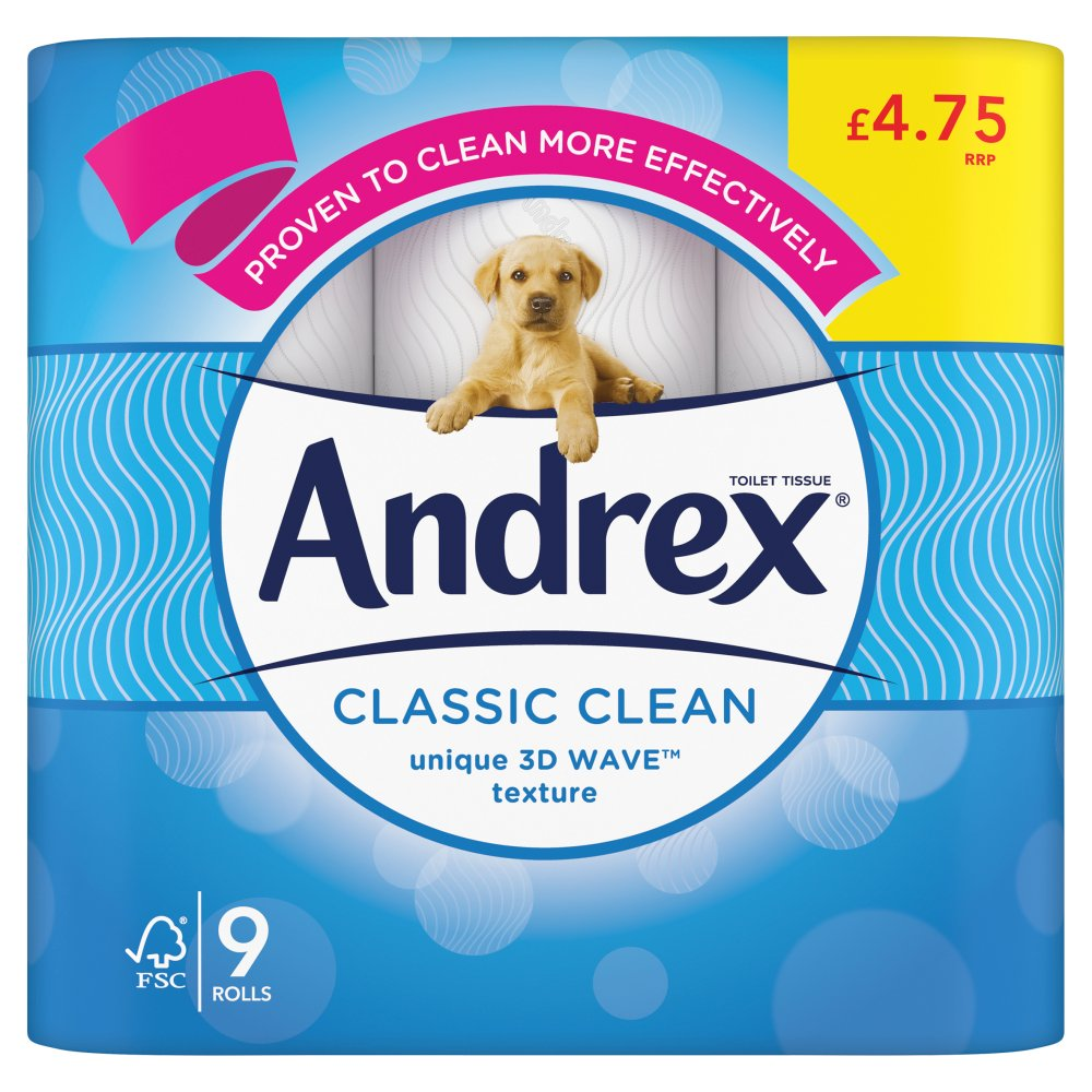 Andrex Classic Clean Toilet Tissue 9 Rolls