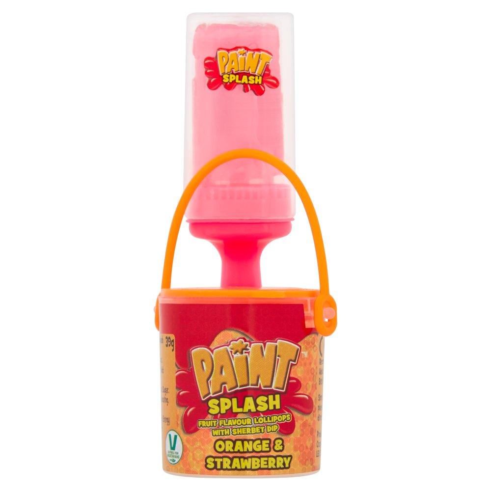 Paint Splash Fruit Flavour Lollipops with Sherbet Dip Orange & Strawberry 39g