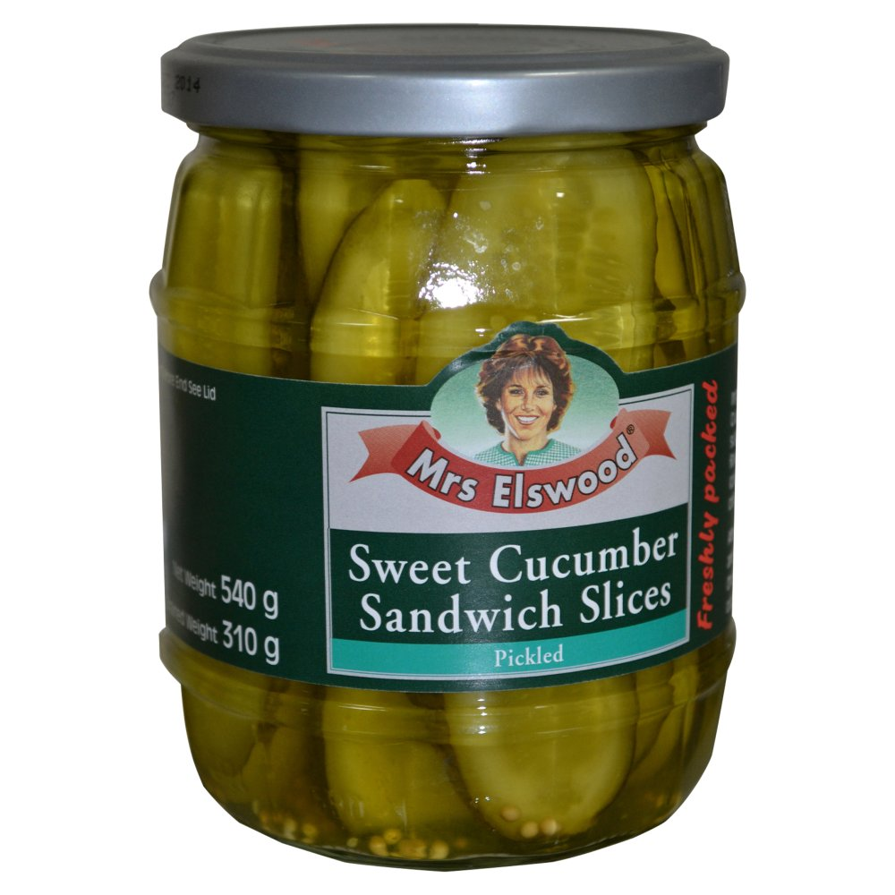 Mrs Elswood Sweet Cucumber Sandwich Slices Pickled 540g