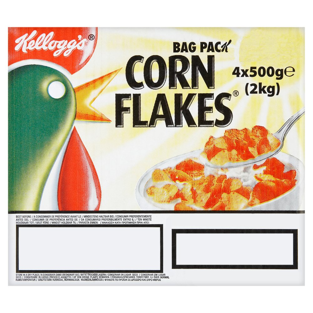 Kellogg's Corn Flakes Cereal Bag Pack 4 x 500g (2kg)