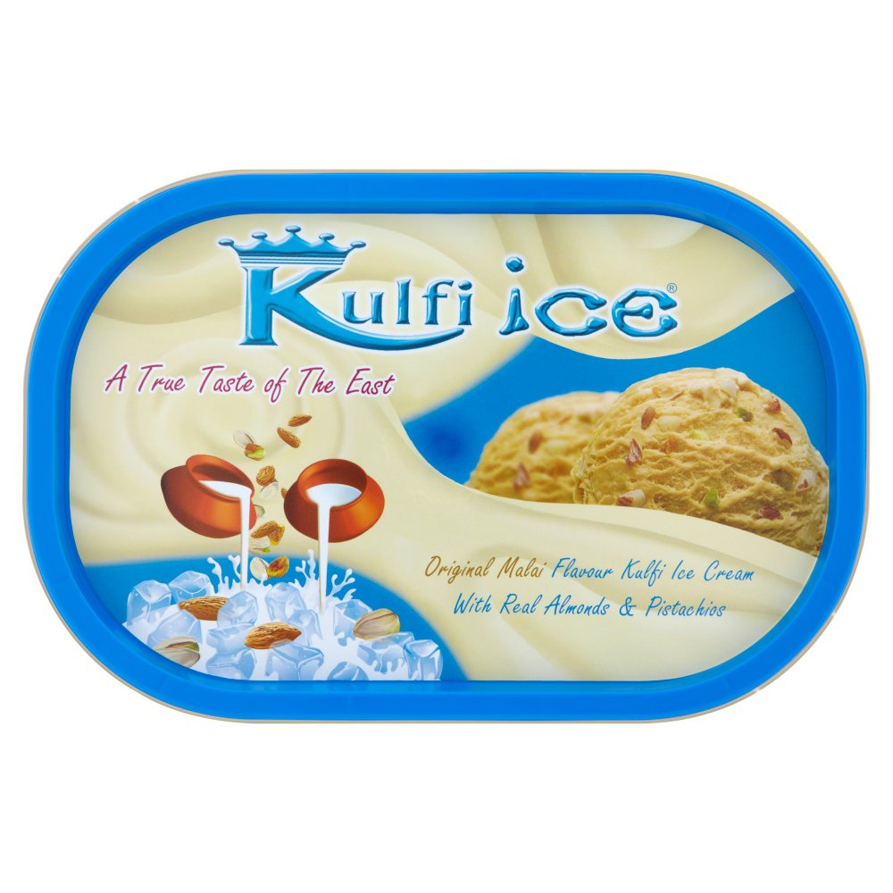 Kulfi Ice Original Malai Flavour Kulfi Ice Cream with Real Almonds & Pistachios 1 Litre