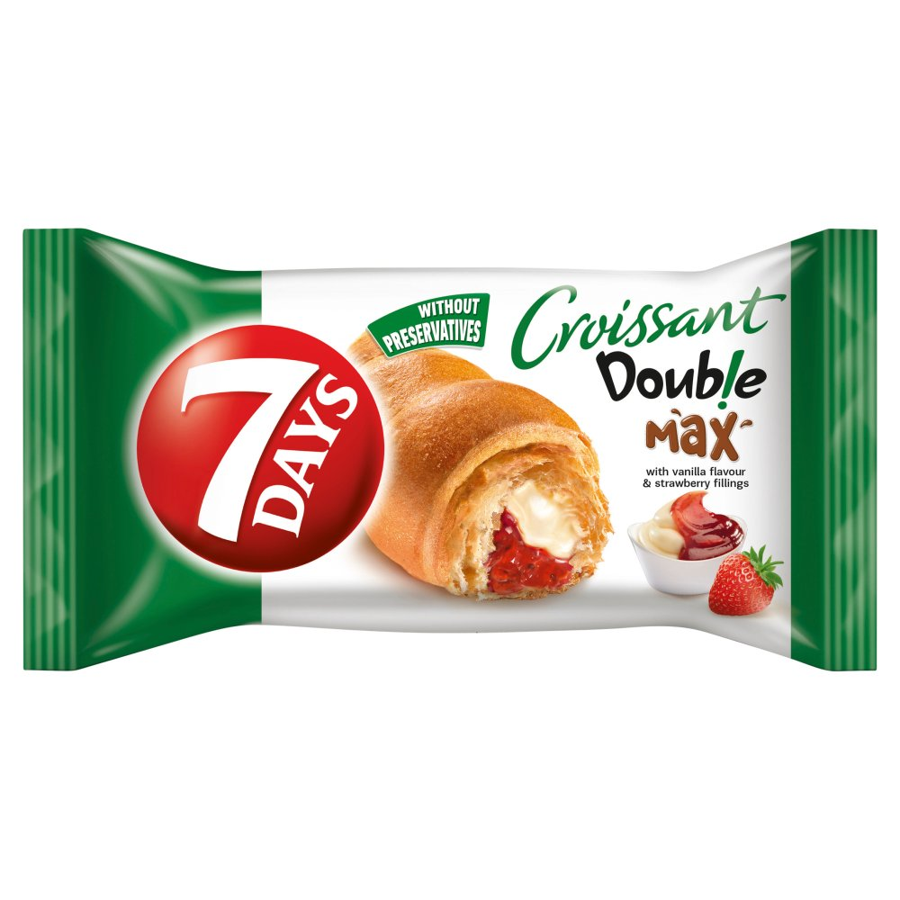7 Days Croissant With Vanilla Flavour & Strawberry Fillings Double Max 80g