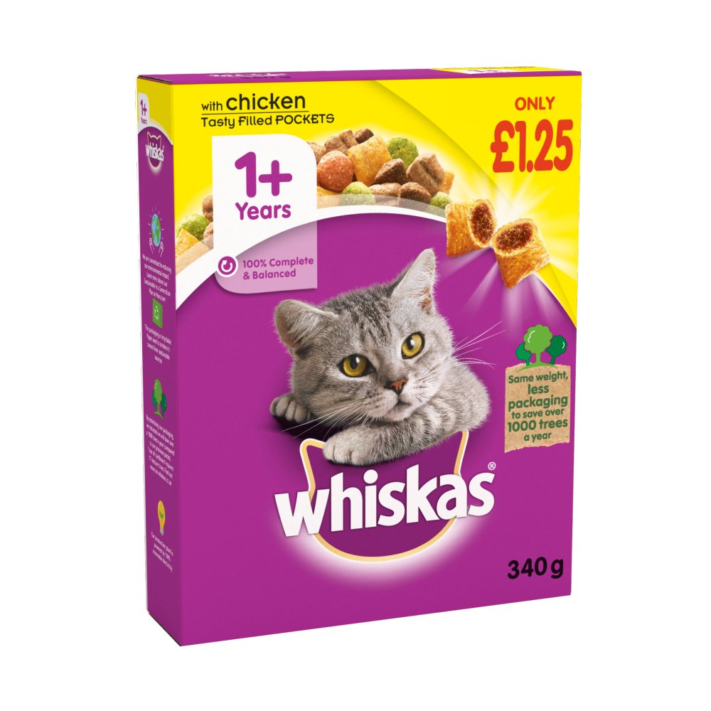 Whiskas AdultComplete Dry Cat Food Biscuits Chicken340gPMP£1.25