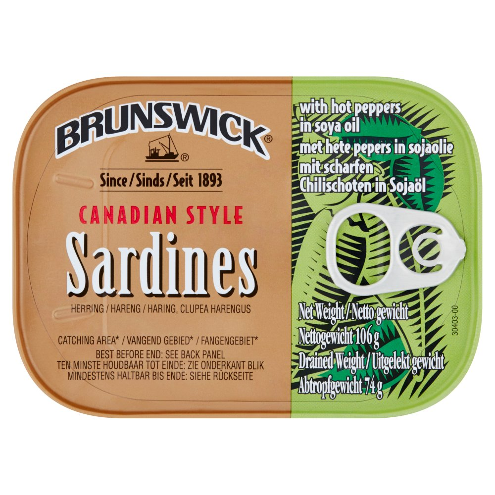 Brunswick Canadian Style Sardines with Hot Peppers 106g