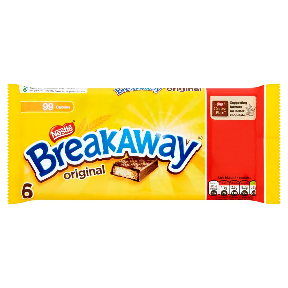 Breakaway Milk Chocolate Biscuit Bar Multipack 6 Pack PMP £1