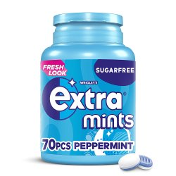 Extra Mints Peppermint Sugar Free Bottle 70 Pieces