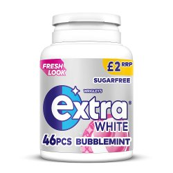 Wrigley's Extra White Bubblemint Sugarfree Chewing Gum 46 Pieces 64g