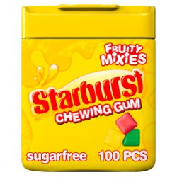 Starburst Fruity Mixies Chewing Gum Sugar Free Bottle 100 Pieces