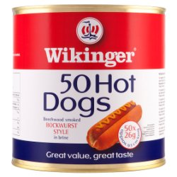 Wikinger 50 Hot Dogs Beechwood Smoked Bockwurst Style in Brine 3000g