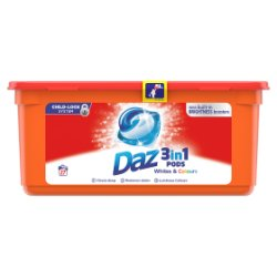 Daz 3in1 Pods Whites & Colours Washing Liquid Capsules 27 Washes