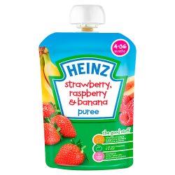 Heinz 4-36 Months Strawberry, Raspberry & Banana Puree 100g