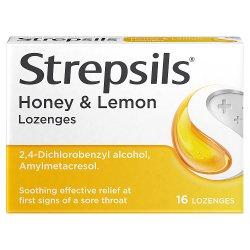 Strepsils Honey & Lemon Lozenges x16 for Sore Throat