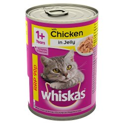 Whiskas 1+ Years Adult Wet Cat Food Tin with Chicken in Jelly 390g