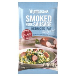Mattessons Smoked Pork Sausage Reduced Fat 200g