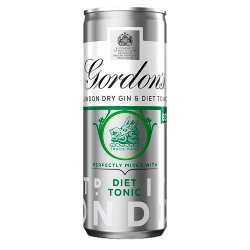 Gordon's London Dry Gin and Diet Tonic 250ml Ready to Drink Premix Can