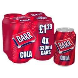 Barr Cola 4 x 330ml Cans, PMP £1.29