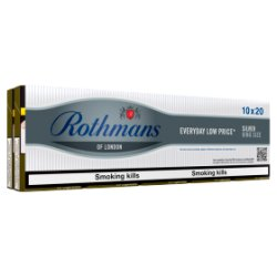 Rothmans Silver King Size 10 x 20 Cigarettes