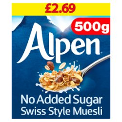 Alpen No Added Sugar Swiss Style Muesli 500g Pricemarked £2.69