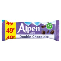 Alpen Light Cereal Bars Double Chocolate 24 x 19g PMP 49p