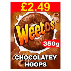 Weetos Chocolatey Hoops 350g Pricemarked £2.49