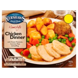 Kershaws Homestyle Chicken Dinner with Roast Potatoes, Carrots, Peas & Stuffing 400g