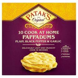 Patak's The Original 10 Cook at Home Pappadums Plain, Black Pepper & Garlic 100g