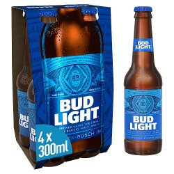 Bud Light Lager Beer Bottles 4 x 300ml