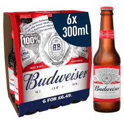 Budweiser Lager Beer Bottles 6 x 300ml PMP £6.49