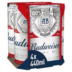 Budweiser Lager Beer Cans 4 x 440ml