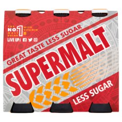Supermalt Less Sugar Non-Alcoholic Malt Beverage with B Vitamins 6 x 330ml