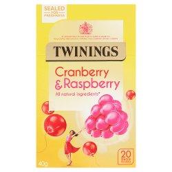 Twinings Cranberry & Raspberry 20 Single Tea Bags 40g