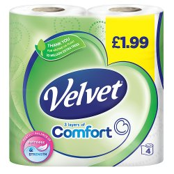 Triple Velvet Toilet Roll White 4 Roll PM £1.99