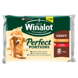 WINALOT Perfect Portions Dog Food Mixed in Gravy 4 x 100g
