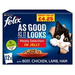 FELIX AS GOOD AS IT LOOKS Meaty Selection in Jelly Wet Cat Food 12 x 100g PMP