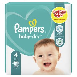 Pampers Baby-Dry Size 4, 25 Nappies, 9kg-14kg, Carry Pack