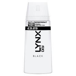 Lynx Black Aerosol Anti-Perspirant Deodorant 150ml