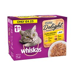 Whiskas Pure Delight Adult 1+ Wet Cat Food Pouches Mixed Poultry in Jelly 12 x 85g