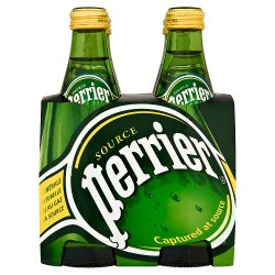 Perrier Sparkling Natural Mineral Water Glass 4x330ml