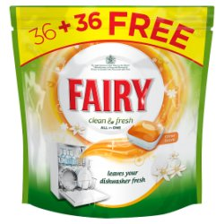 Fairy Clean & Fresh Citrus Grove Dishwasher Tablets 36 + 36 Pack