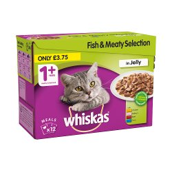 Whiskas Adult 1+ Wet Cat Food Pouches with Fish and Meat in Jelly 12 x 100g