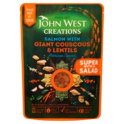 John West Creations Salmon with Giant Couscous & Lentils Harissa Spices 180g