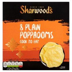 Sharwood's Cook to Eat Plain Poppadoms x8