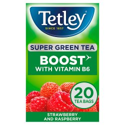 Tetley Super Green Tea Boost Strawberry & Raspberry Tea Bags x20