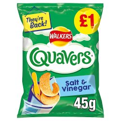 Walkers Quavers Salt & Vinegar Snacks £1 RRP PMP 45g