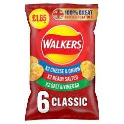 Walkers Classic Variety Multipack Crisps £1.65 RRP PMP 6 x 25g