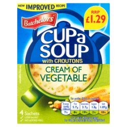 Batchelors Cup a Soup with Croutons Cream of Vegetable 4 Pack 122g