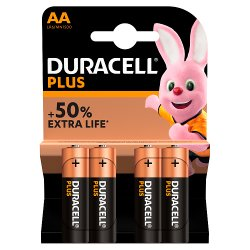 Duracell Plus AA Alkaline Batteries, Pack of 4