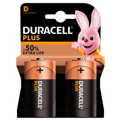 Duracell Plus Type D Alkaline Batteries, Pack of 2