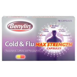 Benylin Cold & Flu Max Strength Capsules 16 Capsules